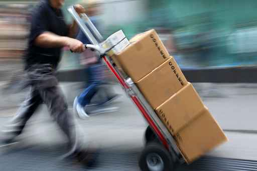 delivery with dolly by hand
